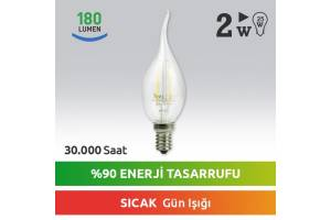 Nextled E14 LED Mum Ampul 2W Sıcak Kuyruklu