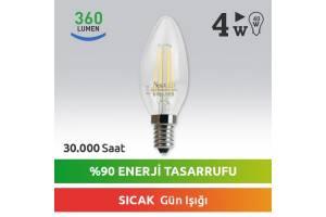 Nextled E14 LED Mum Ampul 4W Sıcak Kuyruksuz