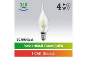 Nextled E14 LED Mum Ampul 4W Sıcak Kuyruklu