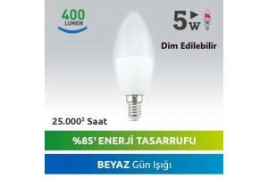 Nextled E14 5 Watt Beyaz LED Mum Ampul DIM Edilebilir