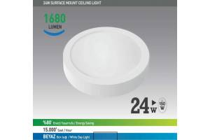 Nextled Sıva Üstü LED Yuvarlak 24W Beyaz