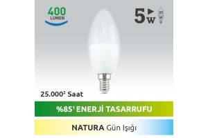Nextled E14 LED MUM AMPUL 5W SICAK Gün Işığı