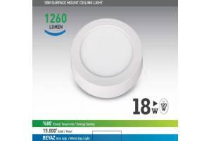 Nextled Sıva Üstü LED Yuvarlak 18W Beyaz
