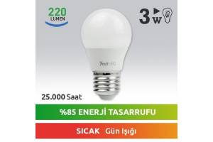 Nextled E27 LED Ampul 3W Sıcak