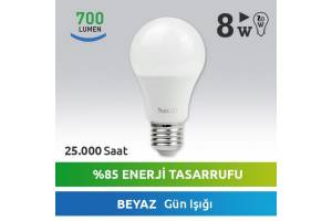 Nextled E27 LED Ampul 8W Beyaz