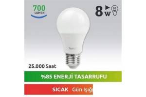 Nextled E27 LED Ampul 8W Sıcak
